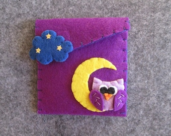 Felt purse with owl and starry cloud, Purple Felt purse Purse coin Felt Pochette Purple purse Accessories for girl Birthday gift Owl purse