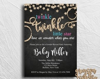 Twinkle Twinkle Little Star, Gender Reveal Invitation, Gold Glitter, Printable