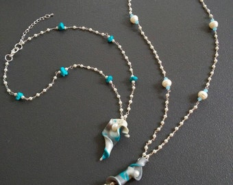 "White Pearl lariat necklace Turquoise Necklaces natural white pearl and turquoise collection ""Spring"""