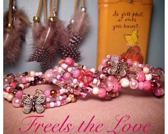 Pretty in Pink SALE!!!               bracelet, czech glass bracelet, pink, red, raspberry, cream and gold colored wrap bracelet