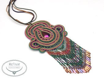Original big soutache necklace pendant with fringes. Statement pendant , Rainbow hematite pendant, Christmas gifts for her, Soutache jewelry