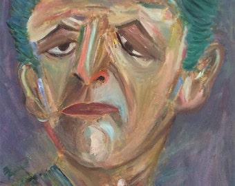 ATTITUDE -  Large original expressionist oil painting