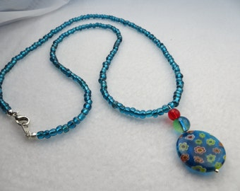 Blue and Red Millefiori Flower Pendant Necklace
