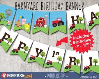 Farm Animals Barnyard Birthday Party Banner PRINTABLE / Bday Printables / Printable Party Banner / Any Age Banner / Gender Neutral / No. 001