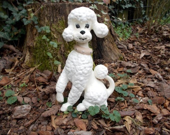Vintage Tall White Ceramic Poodle/ Home Decor/ Poodle/ Dog/ White Dog/ Shabby Chic