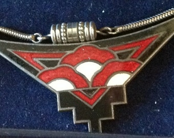 Vintage Art Deco necklace: black, white, and red ceramic with silver chain