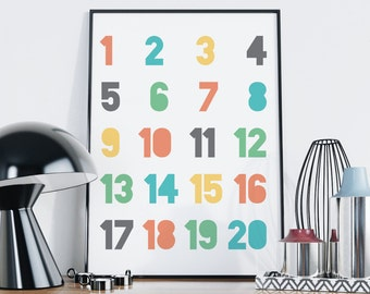 Nursery Numbers Print — Colorful Numbers Print Children Counting Nursery Poster Print Printable Wall Art Digital Print Typography Print 1 20