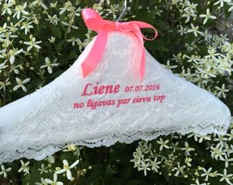 Personalized wedding hanger white lace padded shower wedding hanger Wedding hanger Shower Wedding gift  Handmade Custom made