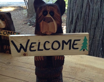 "Chainsaw Carved Bear 15"" with ""Welcome"" and two more signs"