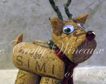 Rudolph, Reindeer Burlap, Twine and Wine Cork Ornament, Christmas Ornament, Gift Tag, Wine Bottle Charm