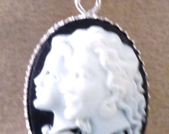 925 Silver cameo pendant guardian angels