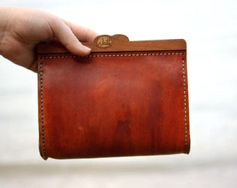 Genuine Leather, hand stitched Clutch Bag
