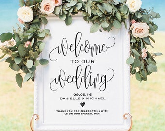 Welcome Wedding Sign, Welcome Wedding Printable, Wedding Sign, Wedding Poster Board, DIY, Template, PDF Instant Download #BPB203_59