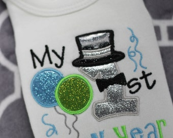 My First 1st New Years Boy Infant Bodysuit or Shirt Embroidery Applique