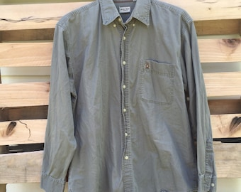 Vintage Bugle Boy Olive Green Long Sleeve Button Up Shirt 90s