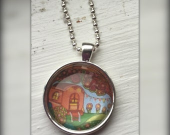 Gypsy Caravan Art Pendant and Chain Necklace- Original Painting Domed Glass Silver Pendant Handmade