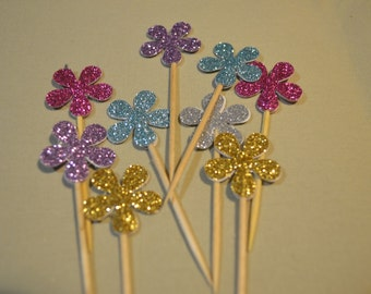 Funky Retro Cute Flower Cupcake Cake Toppers - Wedding, Birthday, Event. Set of 10