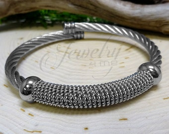 Silver Twisted Cable Stainless Steel Bangle Bracelet