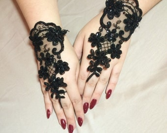 Black Lace Hand Covers: Point