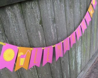 Lemonade Stand Banner ~ Pink Lemonade Pennant ~ Summer Fun Garland ~ Lemons and Lemonade Selling Decor ~ Summer Party Supplies Banner Pink