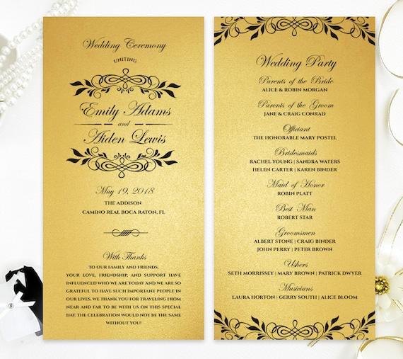Cheap Wedding Programs: Gold Wedding Programs Classy Ceremony Programs Printed On