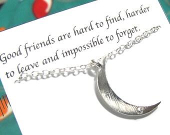 Best friend necklace, Friendship necklace, Silver Moon Rhinestone Necklace |A5|, Birthday gift, Best Friend Gift, gift For Friend, BFFs Gift