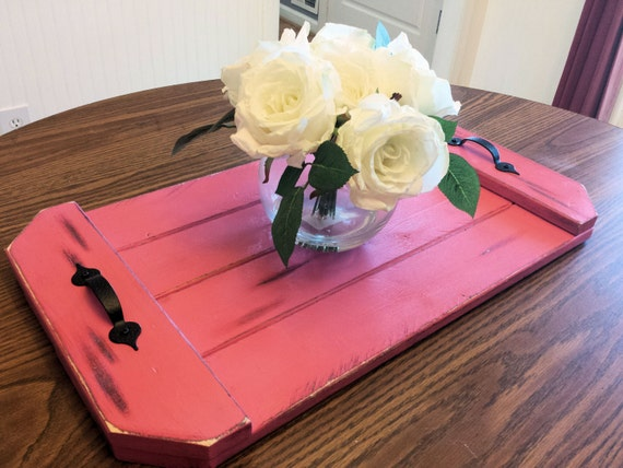 Rustic serving tray table centerpiece by