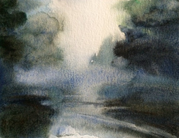 Landscape painting, tree painting, mist, Misty reflection