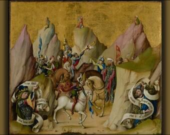 24x36 Poster . Three Kings Meet David And Isaiah 1480 Bible Art