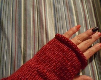 Red fingerless winter gloves