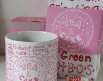 Tea and cake mug and tea towel set