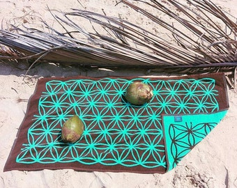 Goa Trippy Towel Rave Psychedelic Flower of Life Sacred Geometry Seed of Life