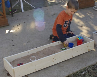 "Brand New Child's Apartment Balcony or Patio Sandbox - 12"" x 60"" Sandbox - With Optional Personalization - Free Shipping"