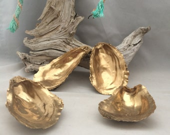 10 Large Cup Side Gold Oyster Shells 2.75-4 Inches Large Round Shells from Cape Cod Gold Painted Shells for Vanity Dish Salt Cellars Decor