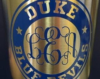 Duke Bluedevils Yeti Decal - Duke Monogram - Duke University - Duke Basketball - Duke Decal - Bluedevil Car Decal - FREE SHIPPING!