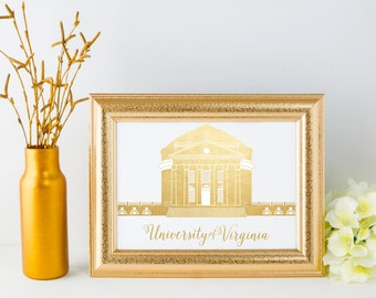 University of Virginia Rotunda Foil Print // UVA Gallery Print // Charlottesville Virginia // UVA Rotunda // Alma Mater Print // UVA