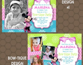 Minnie Mouse Bowtique Bow-tique Birthday Party Invitations Printable Uprint Digital Printed * 4 designs *