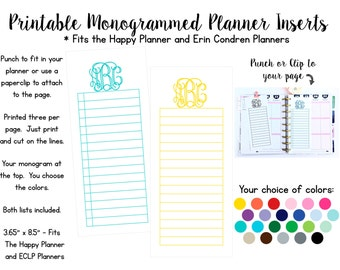 Print Your Own Monogrammed List Inserts - Fits The Happy Planner, Erin Condren, and other Planners
