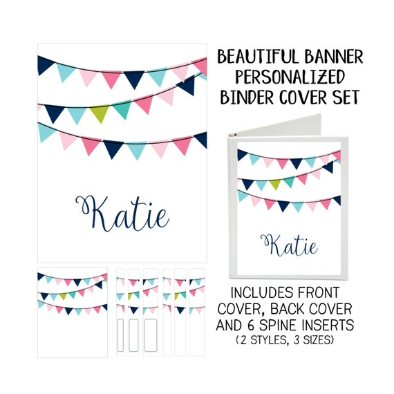 Beautiful Banner Printable Binder Cover Set with Front & Back Covers and Spine inserts - Personalized- Dress up Your Three Ring Binder!