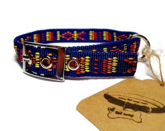 Aztec Dog Collar. Embroidered Dog Collar. For Small Dogs. Colorful Collar. FRIENDSHIP DOG COLLAR