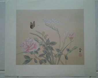 Vintage Chinese silk painting, butterfly and flowers artwork, Asian painting on silk
