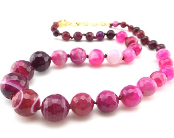 Agate bead necklace - band agate necklace with pink and hot pink semi precious stones. gift for her, pink bead necklace, stone jewellery