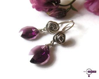 Sterling Silver Rose Earrings, Crystal earrings, Handmade Sterling silver and Swarovski crystal earrings, purple earrings, Gift for her