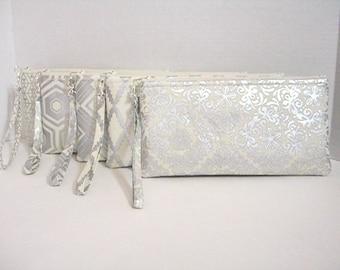 Set of 8 - Metallic Silver Wristlet Clutch - Silver Bridesmaid Clutch - Silver Wedding Clutch - Silver Clutch - Silver Makeup Bag