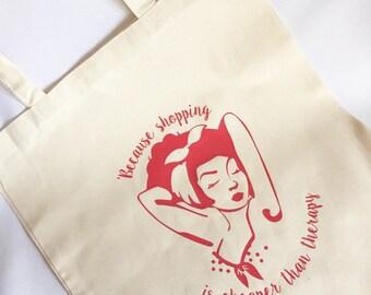 Vintage Shopping Cotton Tote Bag