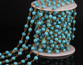 10 Feet/lot Rosary Chain Beads Bronze Gold Wire Chain 6mm Blue Turquoise Rosary Chain Take 10% Off Turquoise Howlite Jewelry Supply