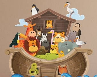 GIANT NOAH'S ARK Wall Decal for Kids // Giant Ark Decal // Noah's Ark Decal // Noah's Ark for Kids // Ark Wall Sticker- WDSET10056B