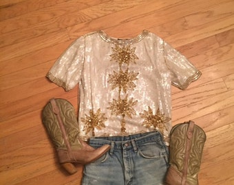 Vintage White and Gold Sequin top/Floral/Sun/NewYears/Large