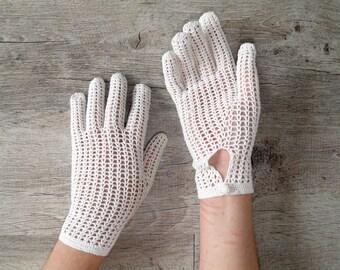 gloves vintage crochet white size 7