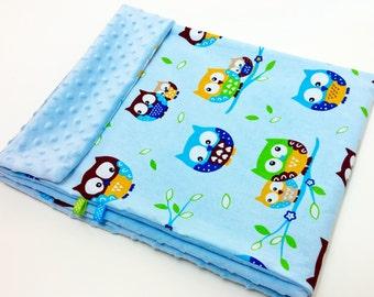 Baby Blanket Fleece Minky Owls/Baby Blue